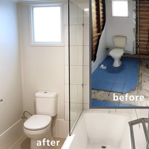 bathroom renovations – Corinda – before / after